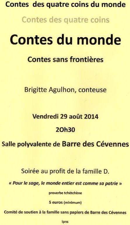 Barre-des-Cévennes : soirée Contes Sans Frontières en soutien à la famille D. ce vendredi 29 août – ANNULEE !!!